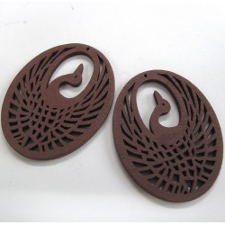 Brown phoenix wooden pendants