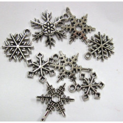 Snowflake charms, pack of 10 mixed