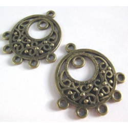 Pair of antique brass colour pendants