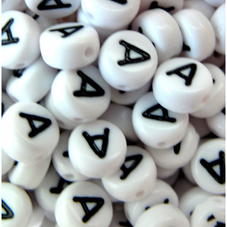"Alphabet beads, pack of 100  ""A""s"