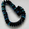 Czech glass rondelle beads black AB, 1 strand