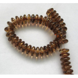 Czech glass rondelle beads lustre brown, 1 strand
