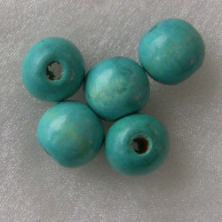 WB2518 - Turquoise wooden bead. Not perfect rounds.  Pack of 10.