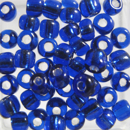 SB630 - Size 6 (approx 4mm x 3.5mm) Silver lined blue. Approx 10g