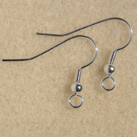 F4160S - Fish Hook Earwire, Silver Colour. Pack of 10 pairs.