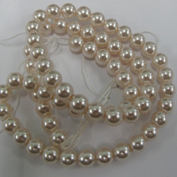 PL0603 - 6mm vanilla white glass pearls. Pack of approx 70.