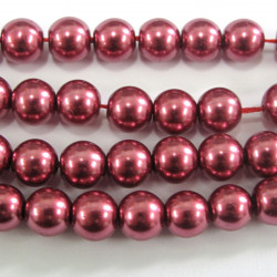 PL0656 - 6mm Raspberry Coloured glass pearls, Approx 70 per String.